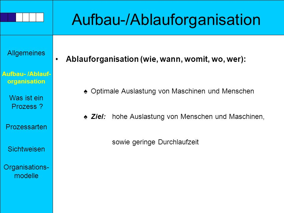 Aufbau-/Ablauforganisation