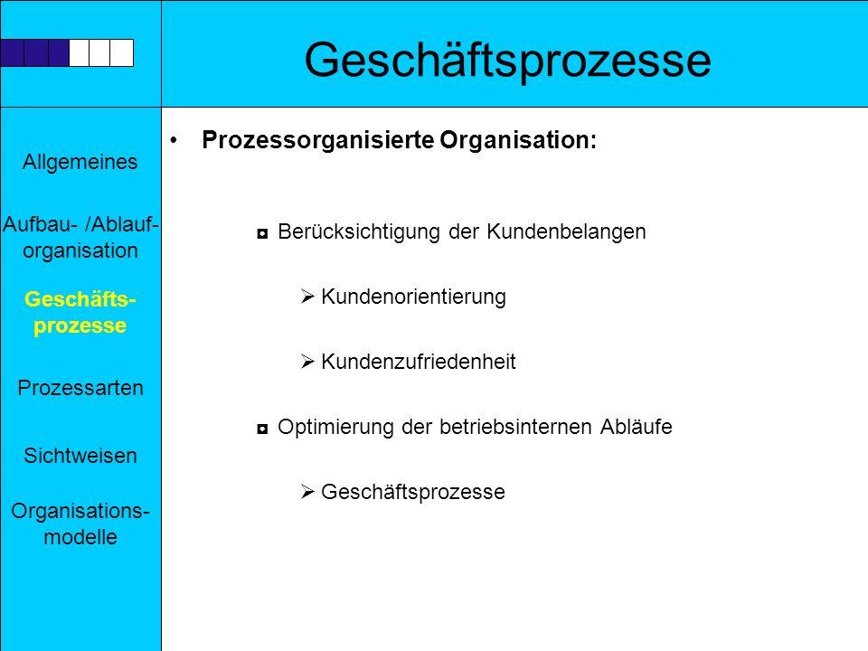 Geschäftsprozesse Prozessorganisierte Organisation: