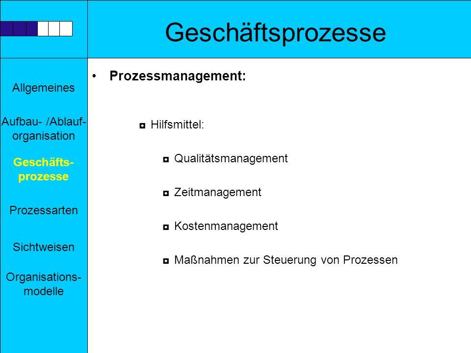 Geschäftsprozesse Prozessmanagement: Hilfsmittel: Qualitätsmanagement