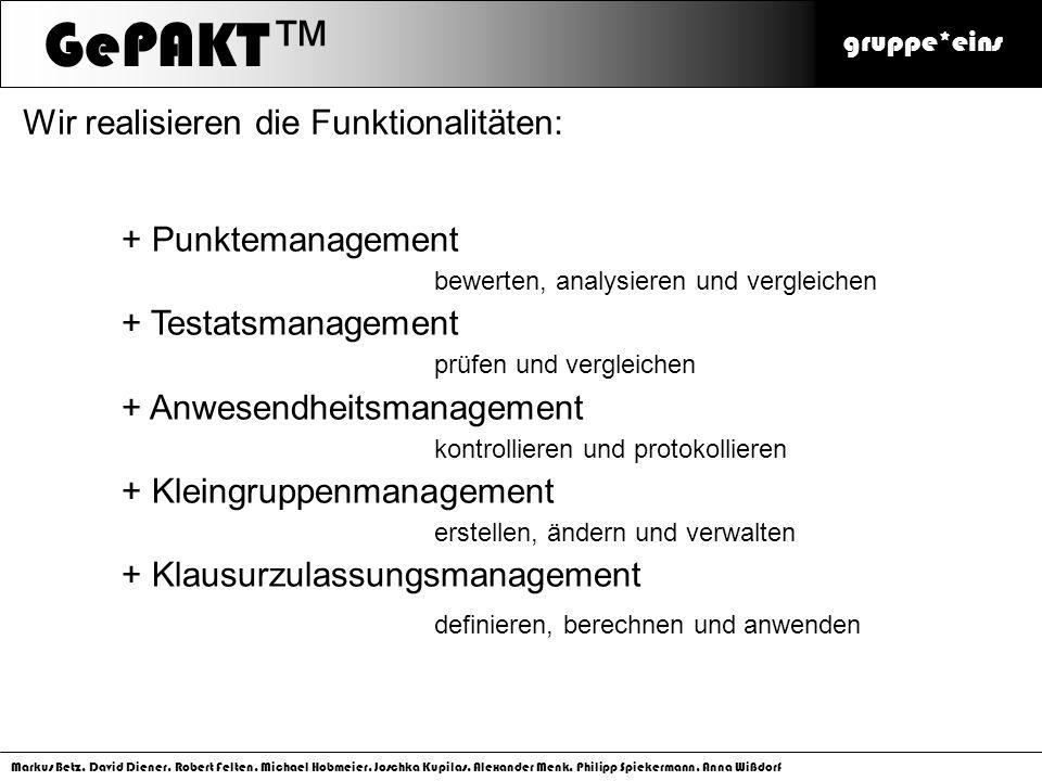 GePAKT™ Wir realisieren die Funktionalitäten: Punktemanagement