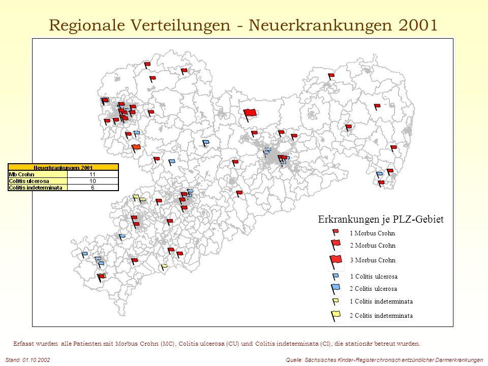 Regionale Verteilungen - Neuerkrankungen 2001