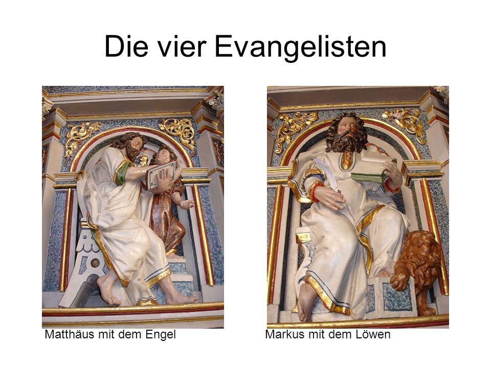 Die vier Evangelisten Matthäus mit dem Engel Markus mit dem Löwen