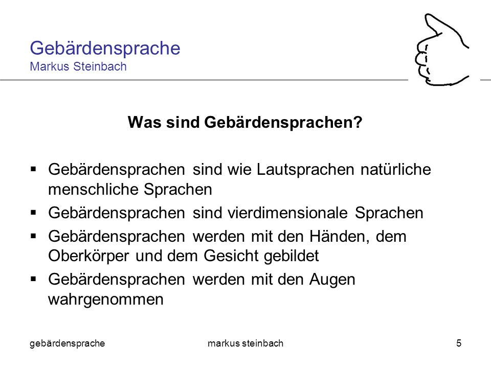 Gebärdensprache Markus Steinbach