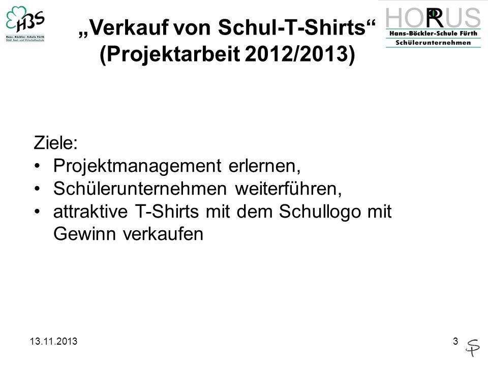 """""""Verkauf von Schul-T-Shirts (Projektarbeit 2012/2013)"""