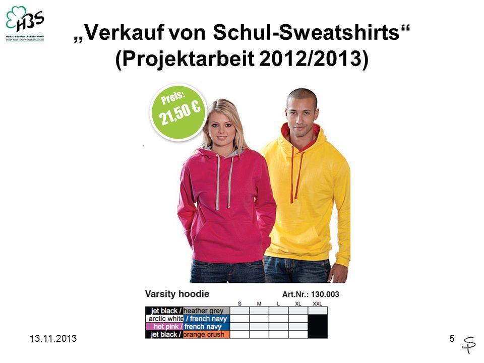 """""""Verkauf von Schul-Sweatshirts (Projektarbeit 2012/2013)"""