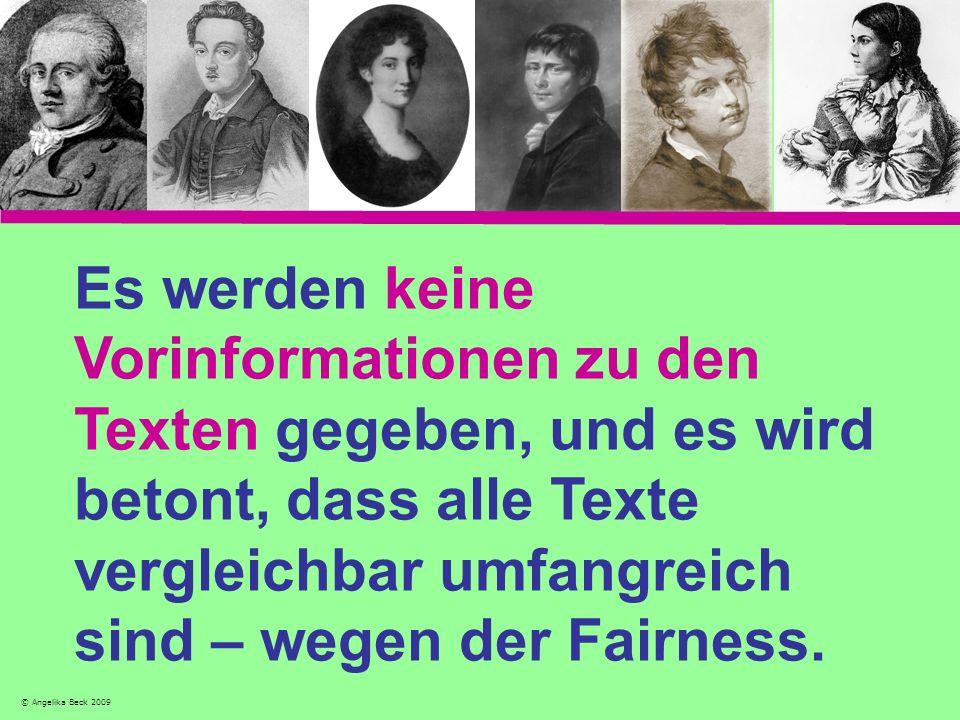 Es werden keine Vorinformationen zu den Texten gegeben, und es wird betont, dass alle Texte vergleichbar umfangreich sind – wegen der Fairness.