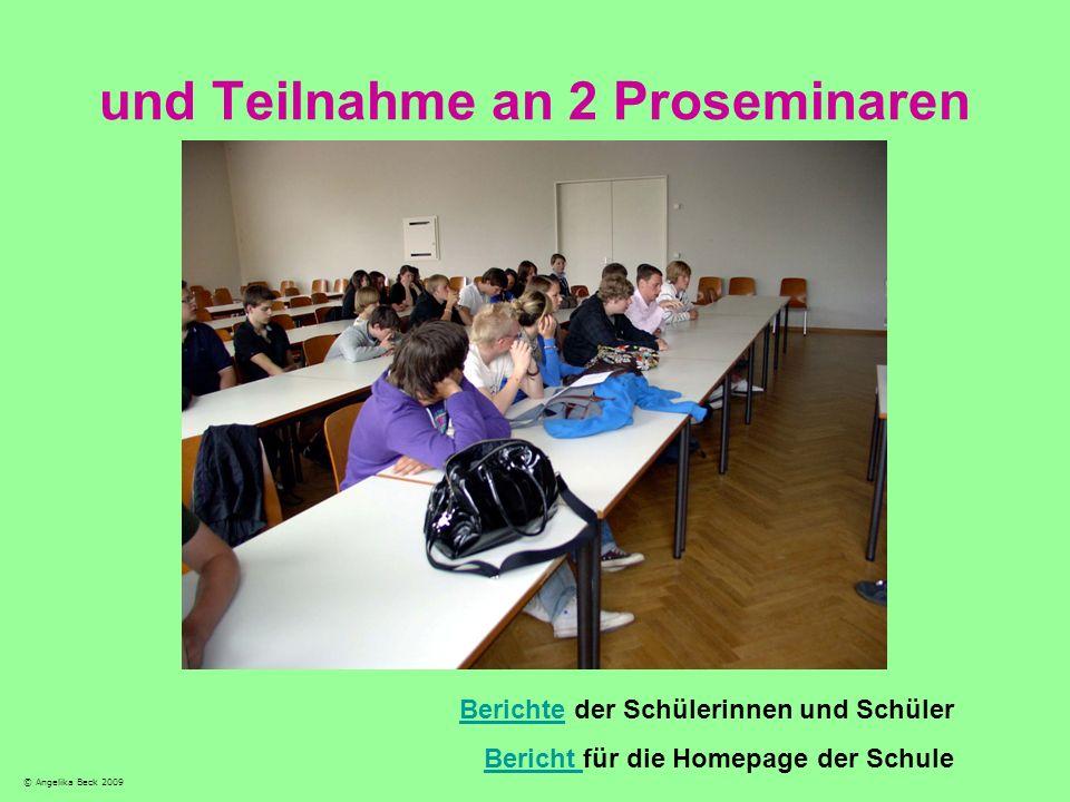 und Teilnahme an 2 Proseminaren
