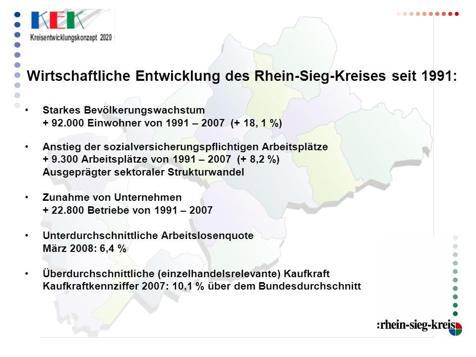 Wirtschaftliche Entwicklung des Rhein-Sieg-Kreises seit 1991: