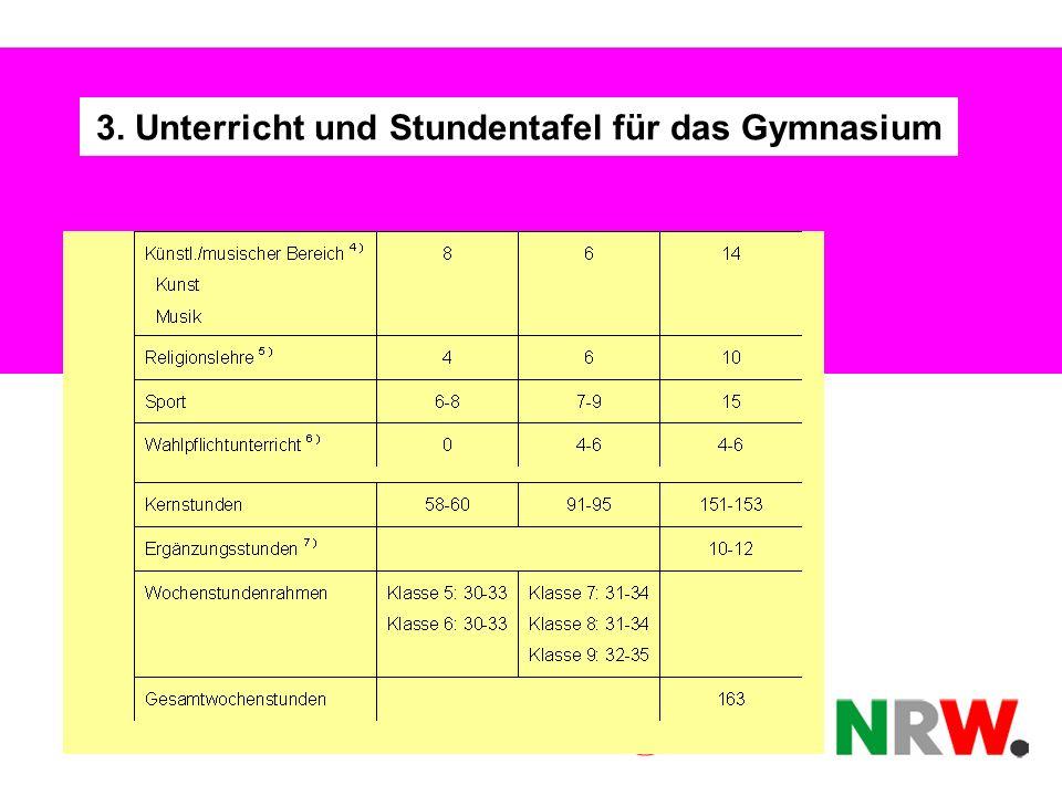 3. Unterricht und Stundentafel für das Gymnasium