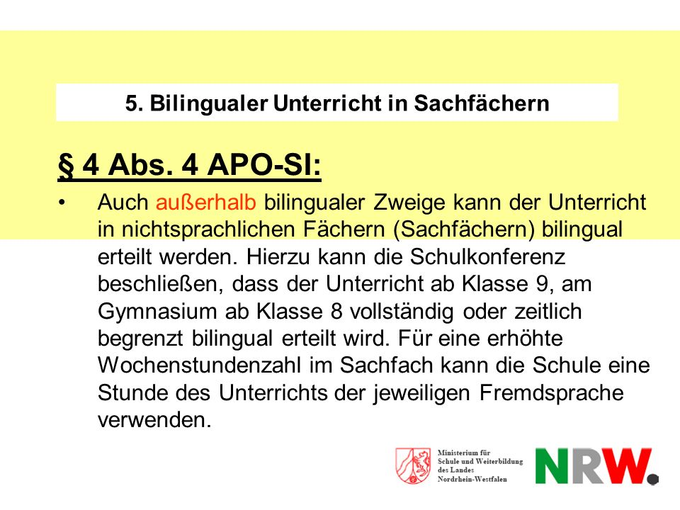 5. Bilingualer Unterricht in Sachfächern