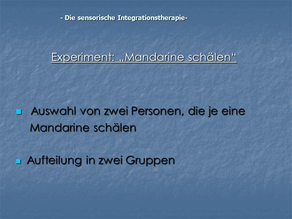 """Experiment: """"Mandarine schälen"""