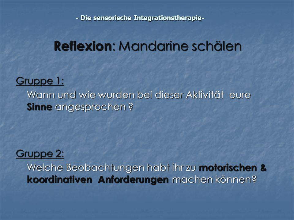 Reflexion: Mandarine schälen