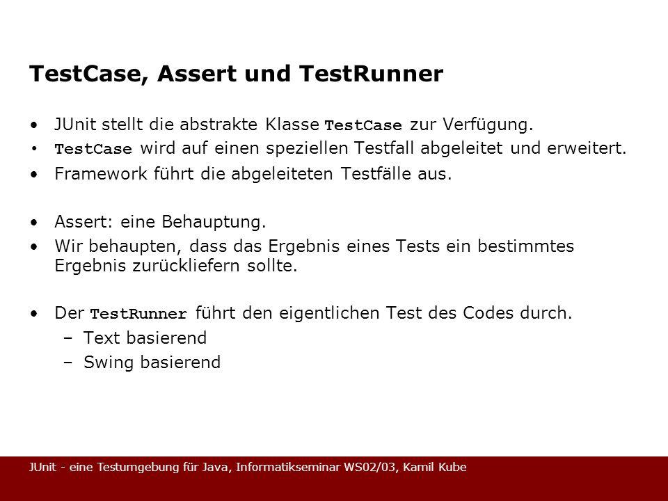 TestCase, Assert und TestRunner