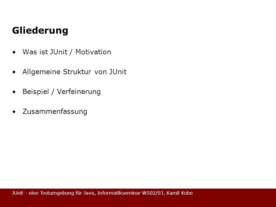 Gliederung Was ist JUnit / Motivation Allgemeine Struktur von JUnit