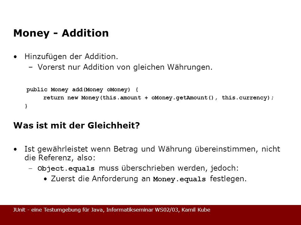 Money - Addition Was ist mit der Gleichheit Hinzufügen der Addition.