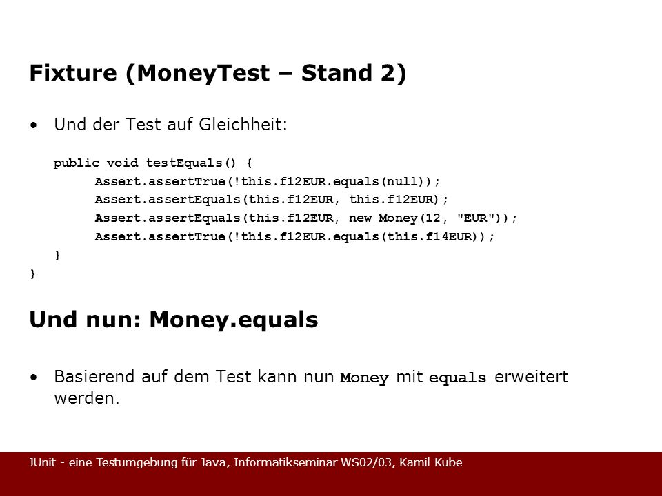 Fixture (MoneyTest – Stand 2)