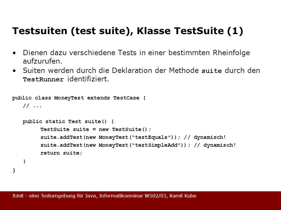 Testsuiten (test suite), Klasse TestSuite (1)