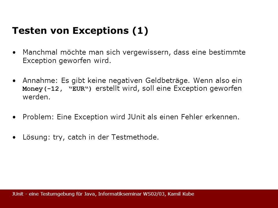 Testen von Exceptions (1)