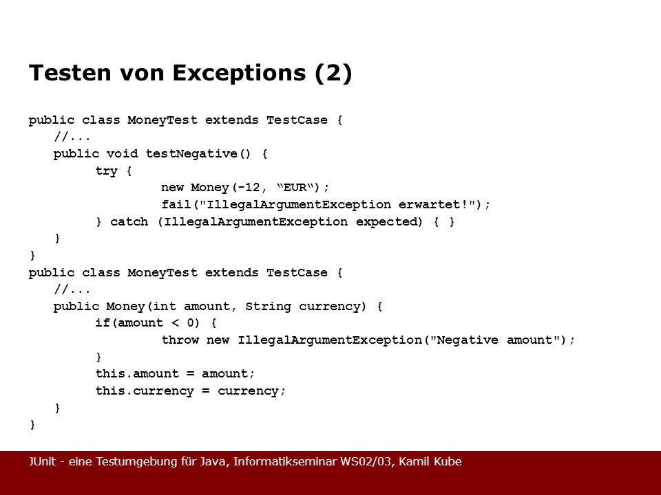 Testen von Exceptions (2)