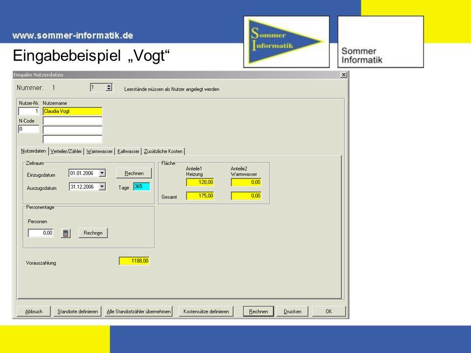 """Eingabebeispiel """"Vogt"""