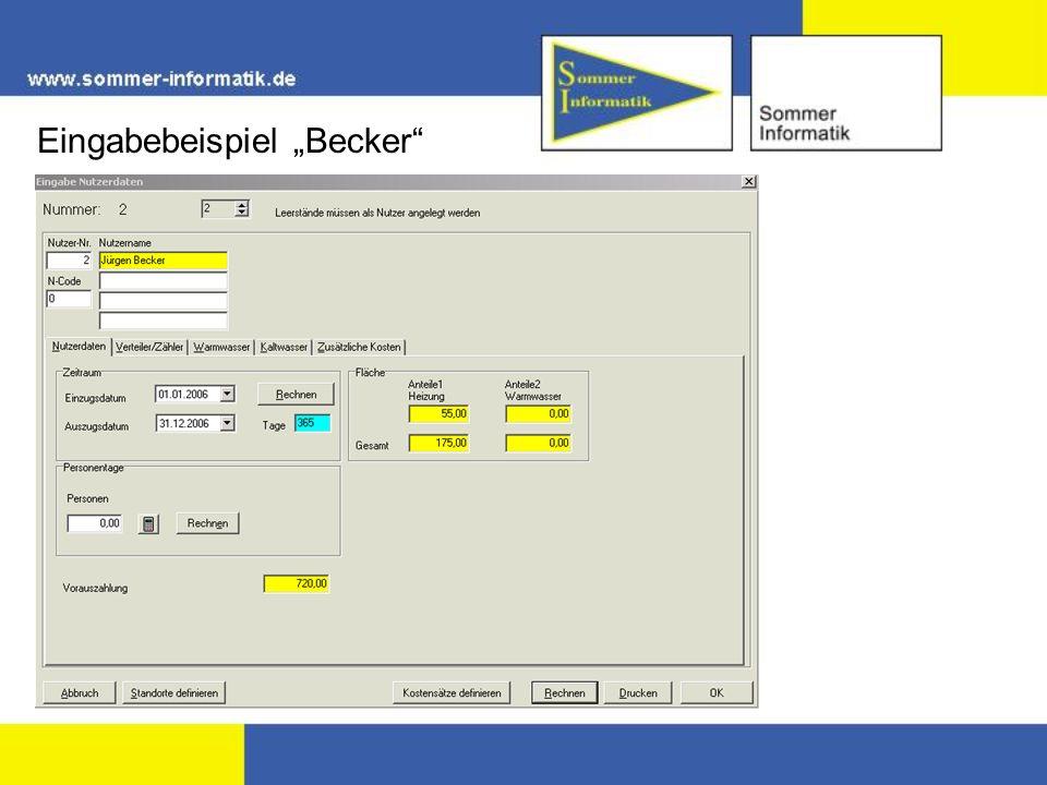 """Eingabebeispiel """"Becker"""