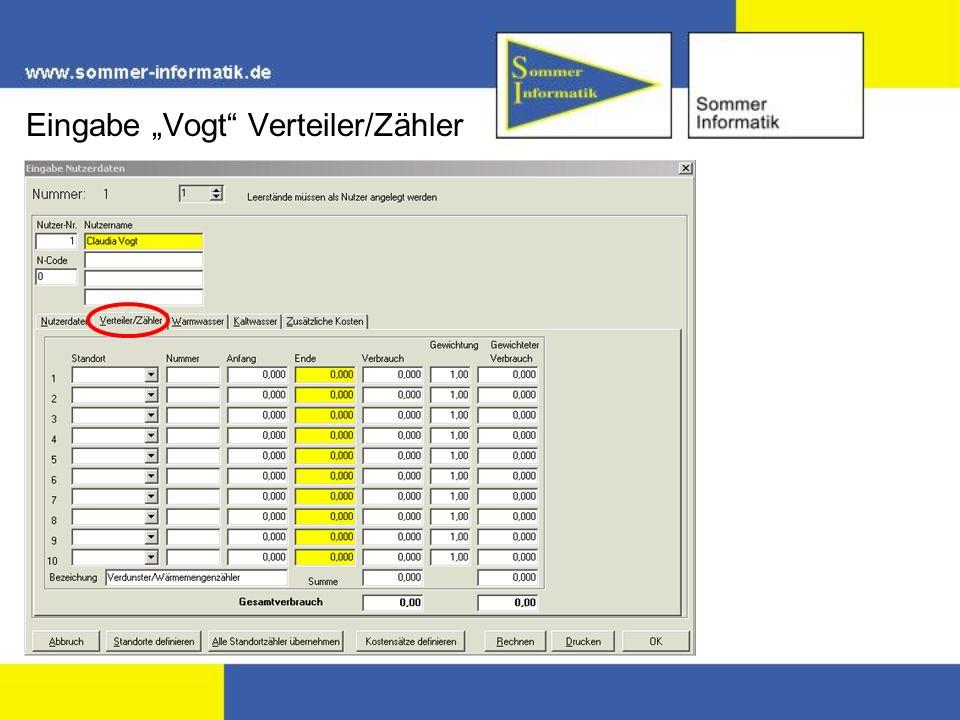 """Eingabe """"Vogt Verteiler/Zähler"""