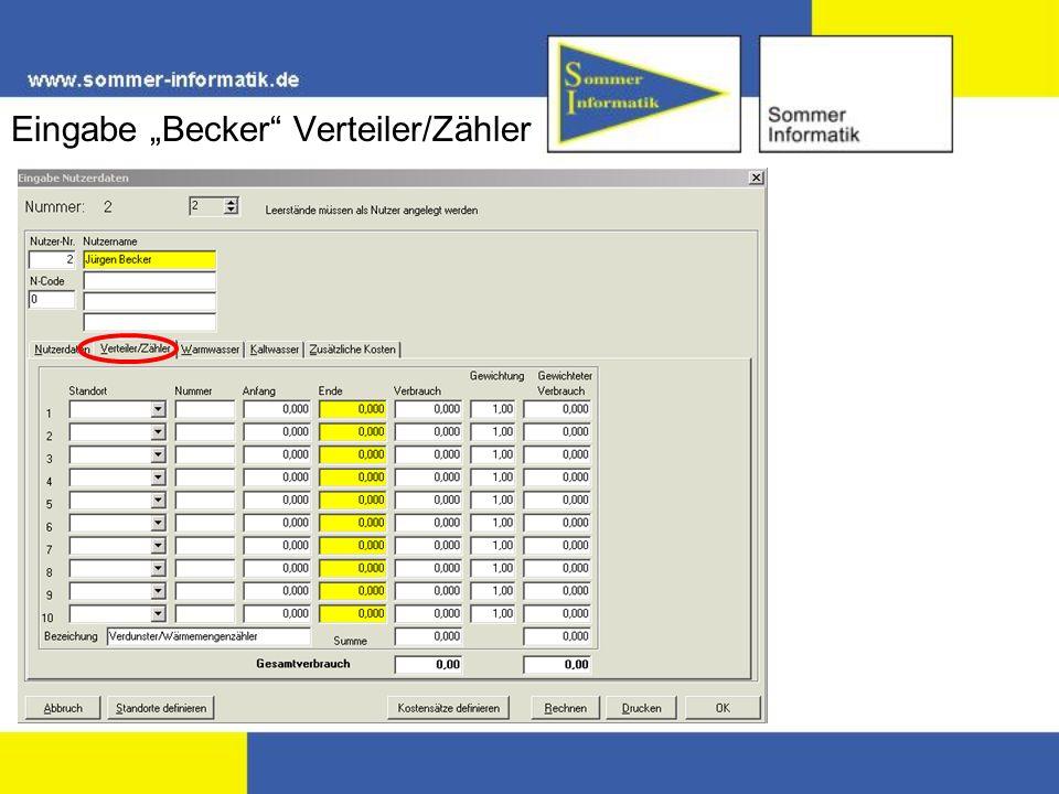 """Eingabe """"Becker Verteiler/Zähler"""