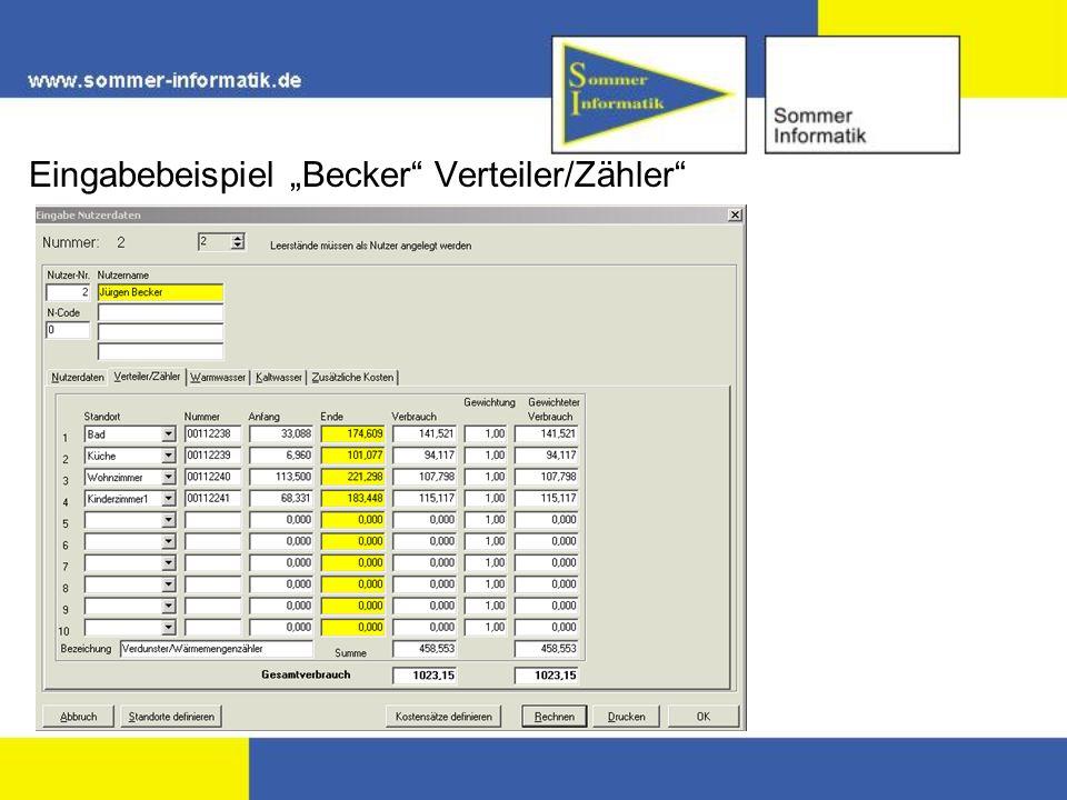"""Eingabebeispiel """"Becker Verteiler/Zähler"""