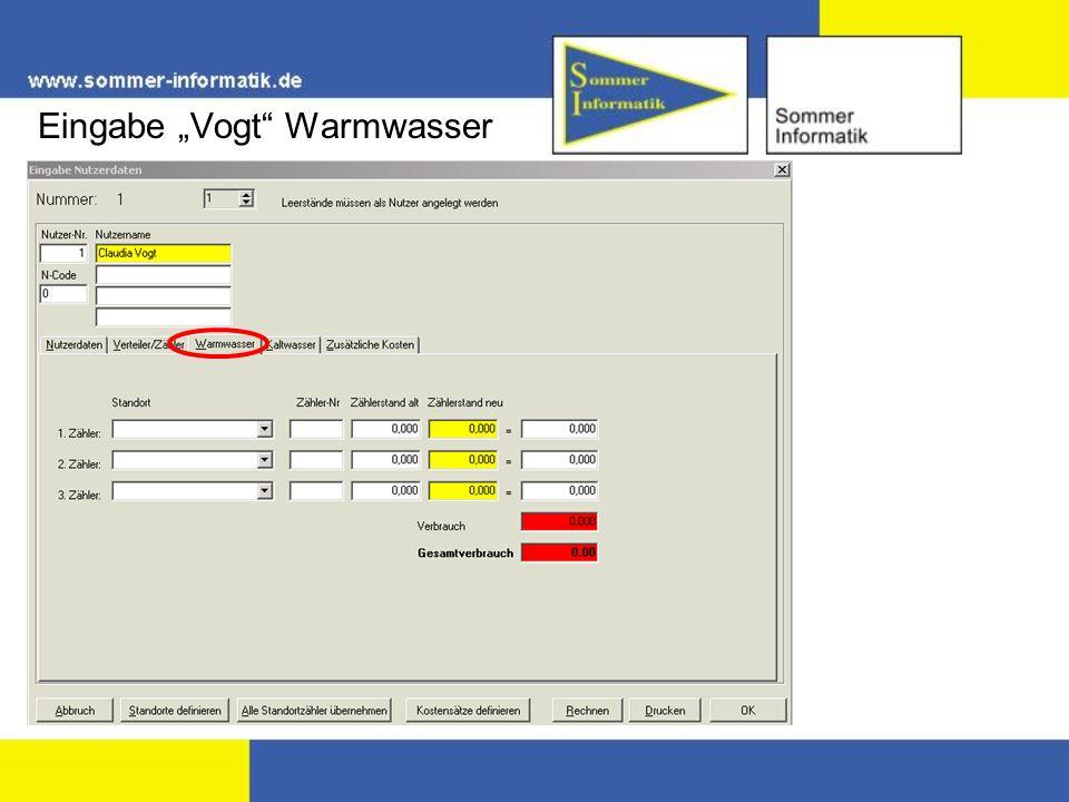 """Eingabe """"Vogt Warmwasser"""
