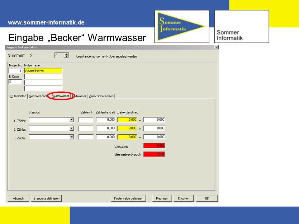"""Eingabe """"Becker Warmwasser"""