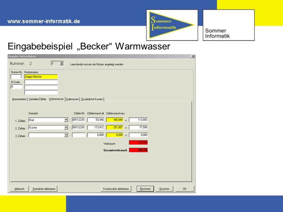 """Eingabebeispiel """"Becker Warmwasser"""