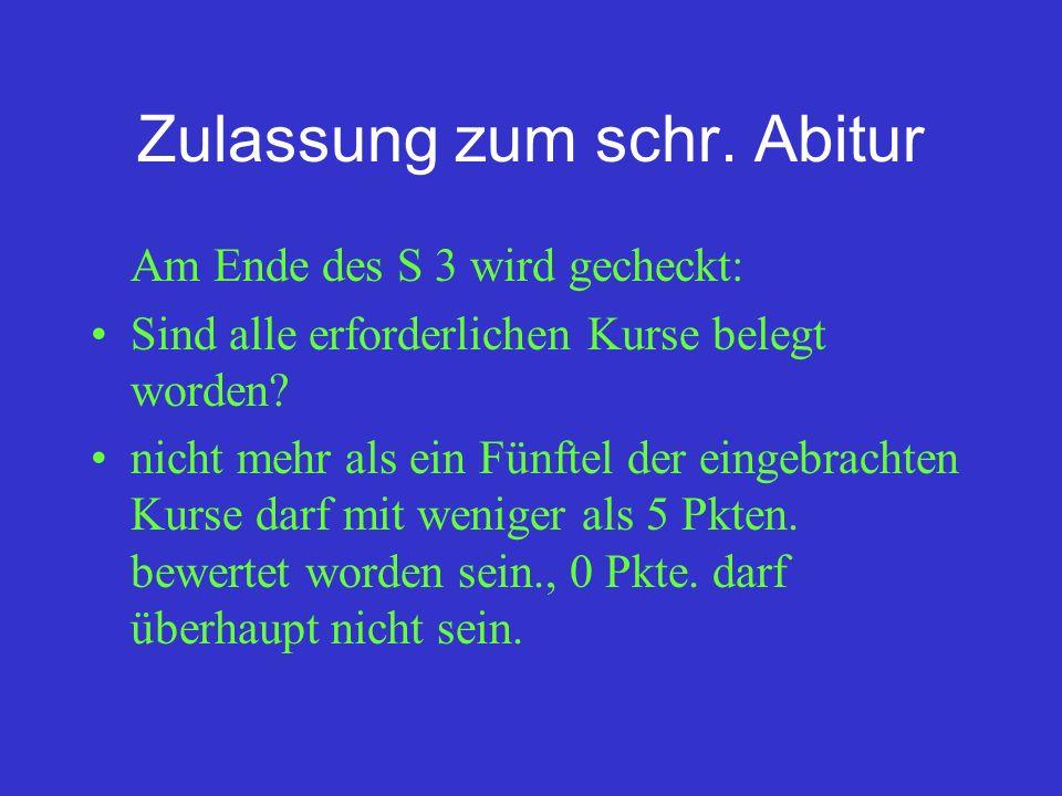 Zulassung zum schr. Abitur