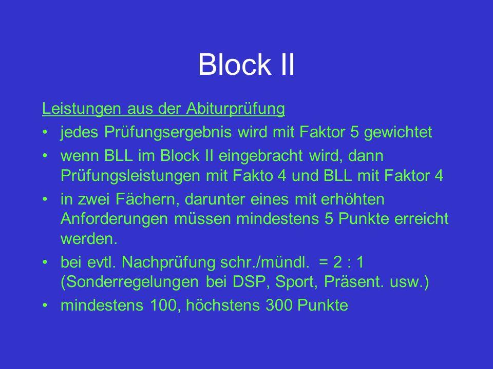 Block II Leistungen aus der Abiturprüfung