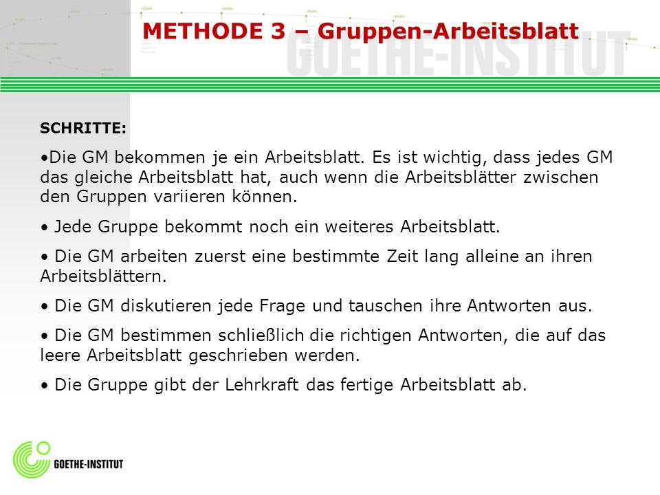 METHODE 3 – Gruppen-Arbeitsblatt