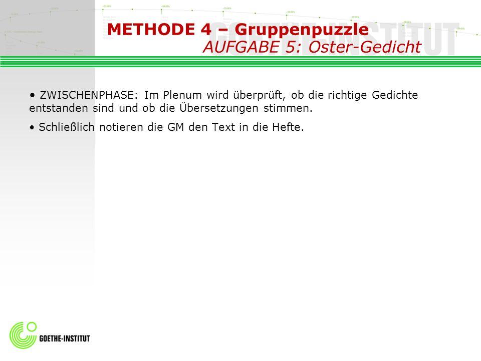 METHODE 4 – Gruppenpuzzle AUFGABE 5: Oster-Gedicht