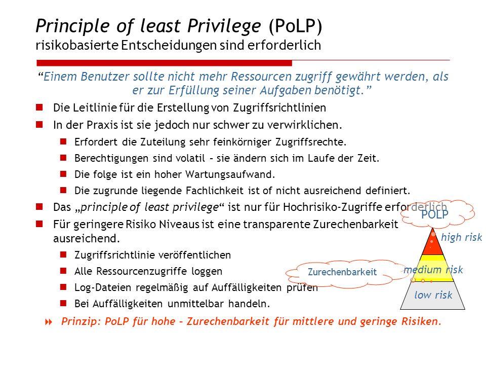 Principle of least Privilege (PoLP) risikobasierte Entscheidungen sind erforderlich