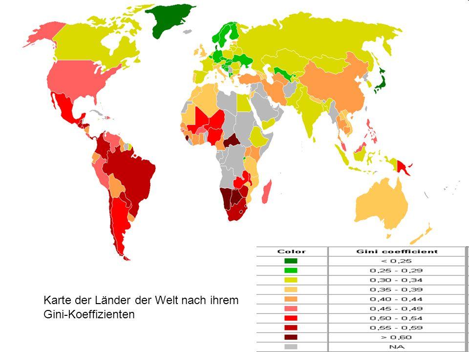 Karte der Länder der Welt nach ihrem