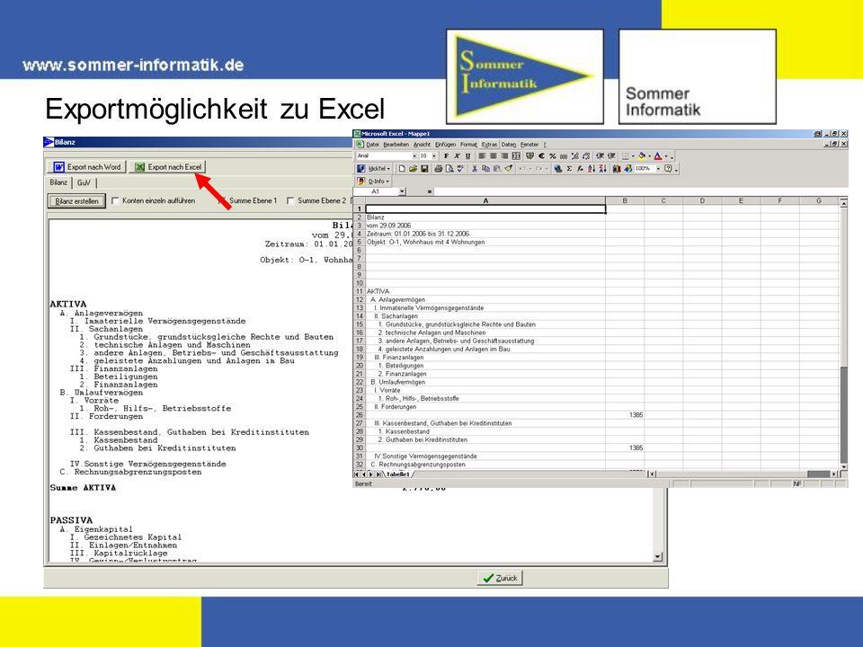 Exportmöglichkeit zu Excel