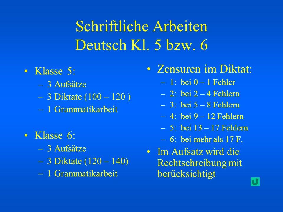 Schriftliche Arbeiten Deutsch Kl. 5 bzw. 6