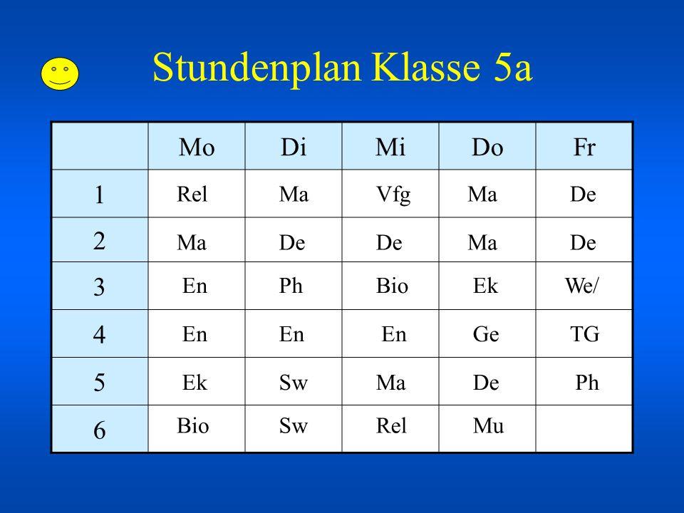 Stundenplan Klasse 5a Mo Di Mi Do Fr 1 2 3 4 5 6 Rel Ma Vfg Ma De Ma