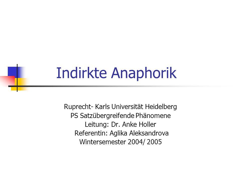 Indirkte Anaphorik Ruprecht- Karls Universität Heidelberg