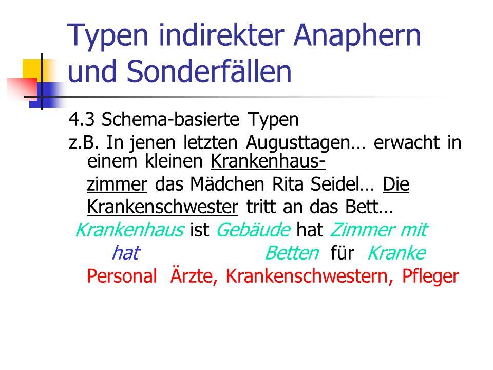 Typen indirekter Anaphern und Sonderfällen