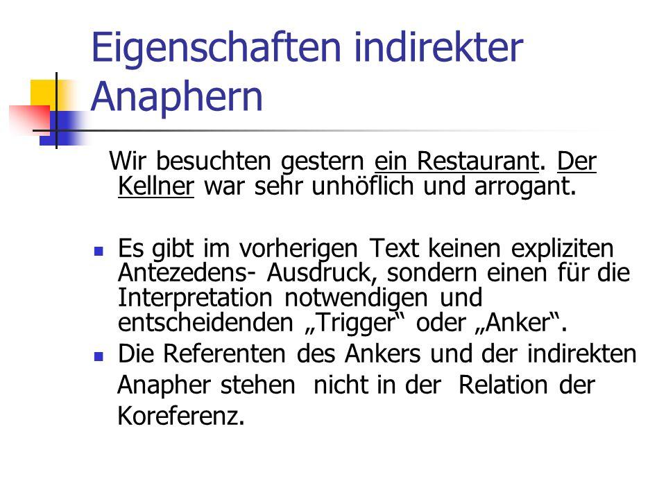Eigenschaften indirekter Anaphern