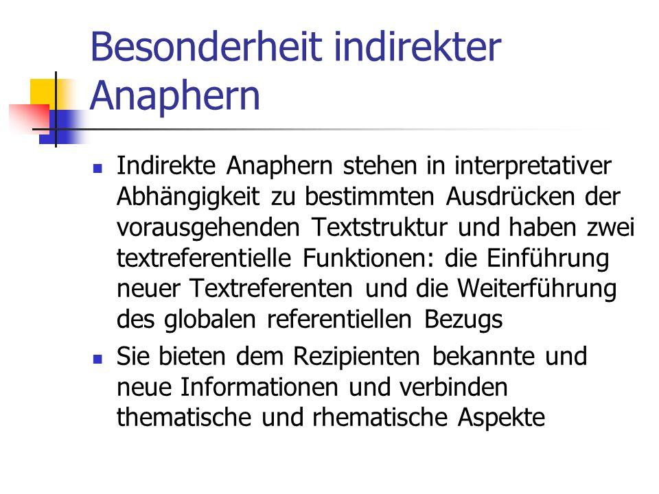 Besonderheit indirekter Anaphern