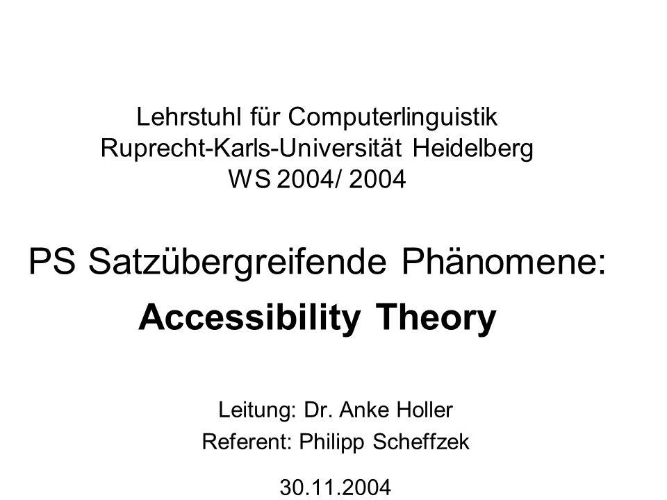 Leitung: Dr. Anke Holler Referent: Philipp Scheffzek 30.11.2004