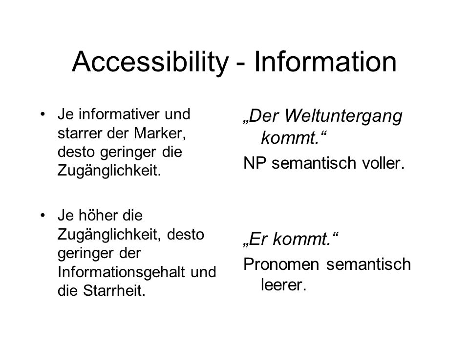 Accessibility - Information