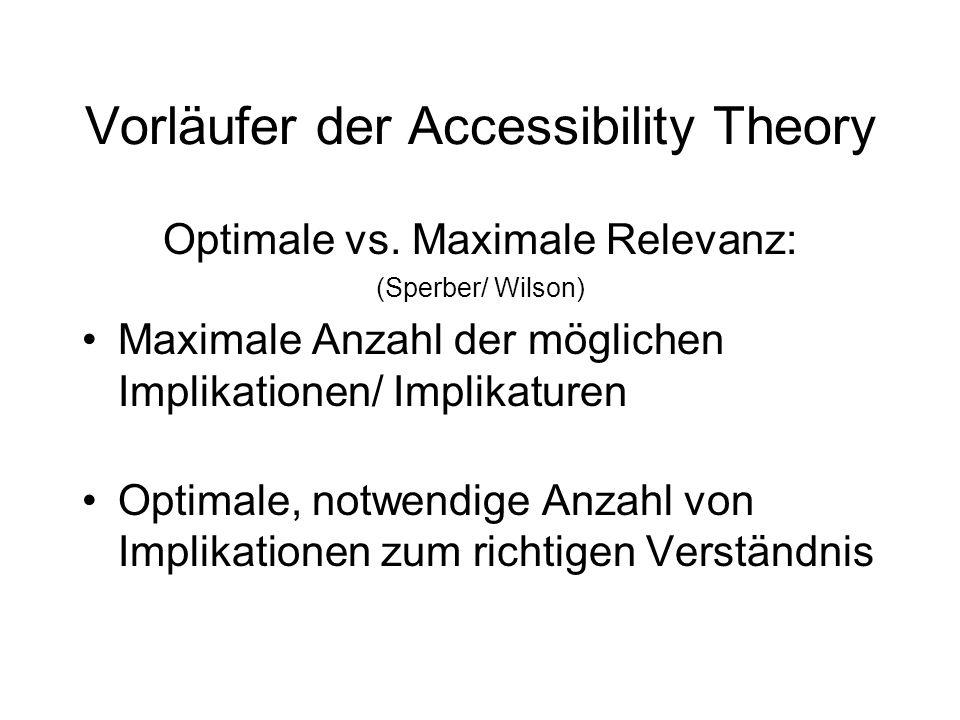 Vorläufer der Accessibility Theory