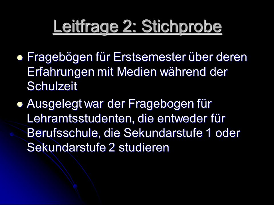 Leitfrage 2: Stichprobe
