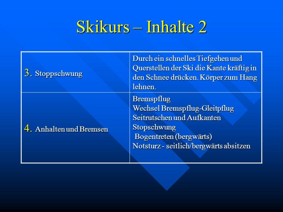 Skikurs – Inhalte 2 3. Stoppschwung 4. Anhalten und Bremsen