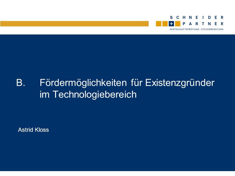 B. Fördermöglichkeiten für Existenzgründer im Technologiebereich